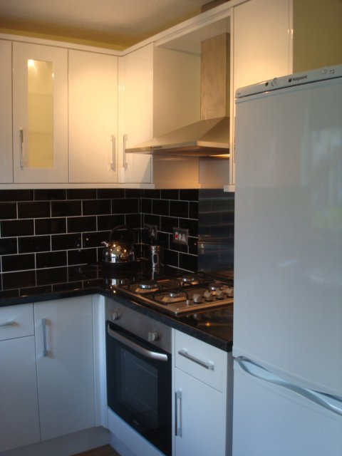 After installation kitchen image with black tiles white - White kitchen with black tiles ...