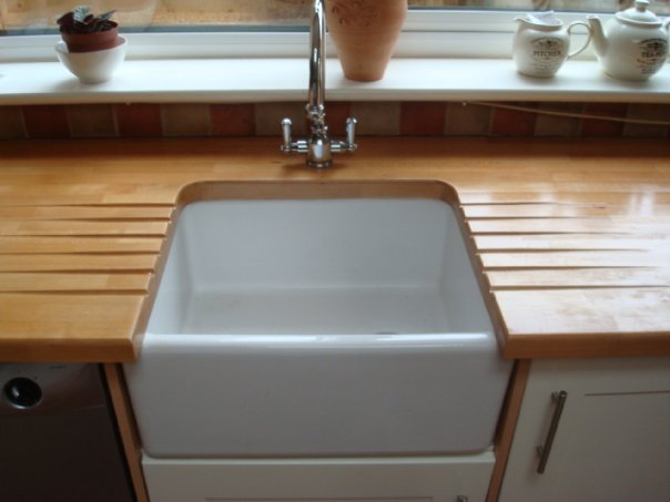 Butler style sink with draining grooves in real wood worktops cotterell carpentry - Butler kitchen sinks ...