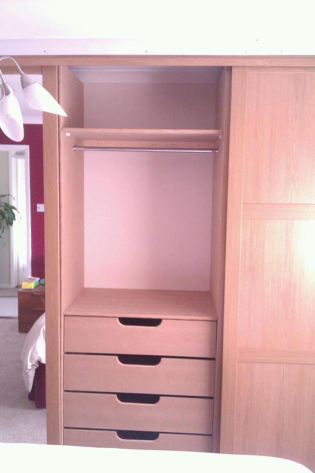 x4 sliding door wardrobe with built in rails and drawers
