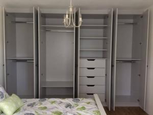 Pale sage bedroom open